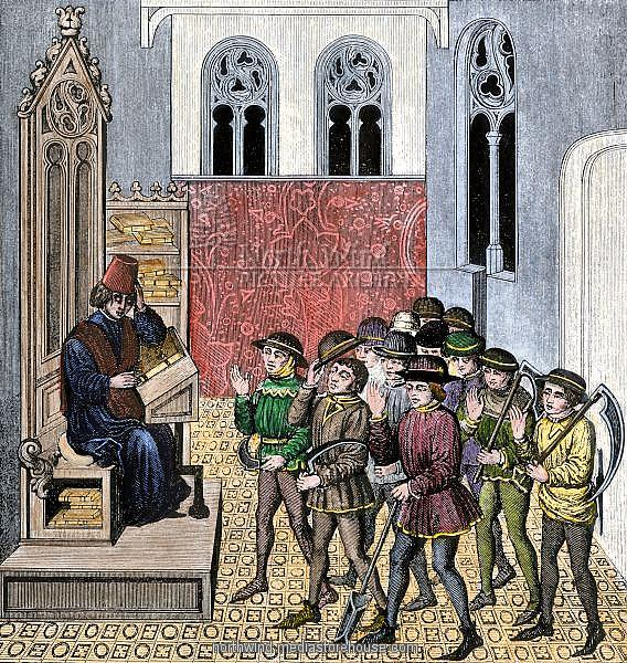Peasants receiving their lord's orders before going to work, 1400s. Hand-colored 19th-century woodcut reproduction of a manuscript miniature illustration